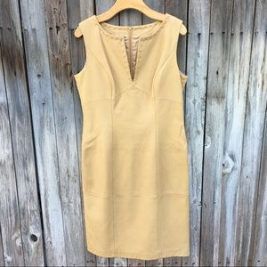 Escada 100% Leather Sleeveless Dress Beige 42
